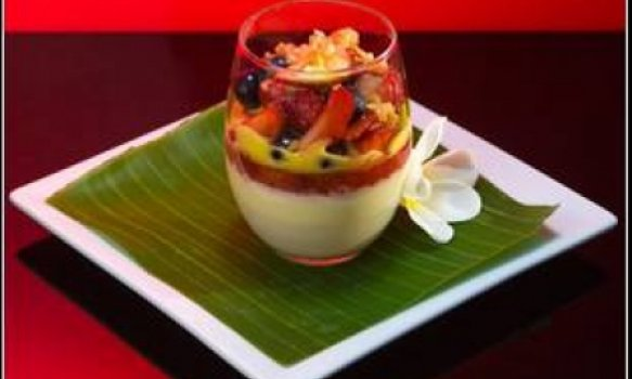 Panna Cotta with Champagne Strawberry Jelly, Summer Fruit Salad and Sabayon