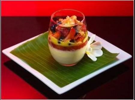 Panna Cotta with Champagne Strawberry Jelly, Summer Fruit Salad and Sabayon   Ju Yu Eh