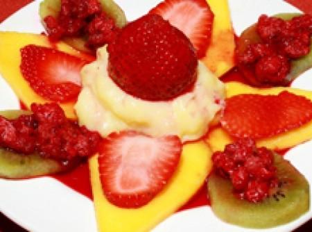 Frutas com Mingau de Baunilha