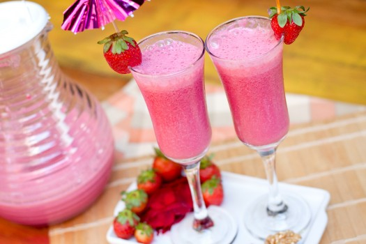 Vitamina de beterraba e morango
