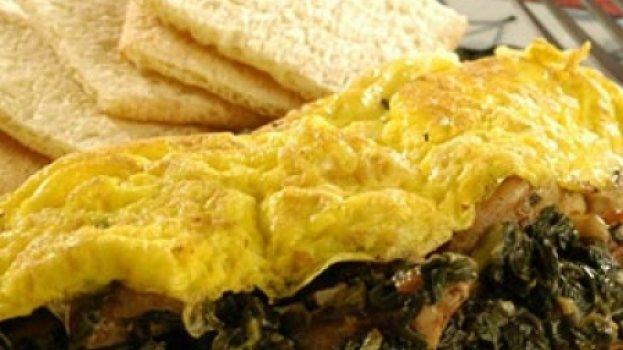 Omelete de Espinafre com Linguiça Calabresa