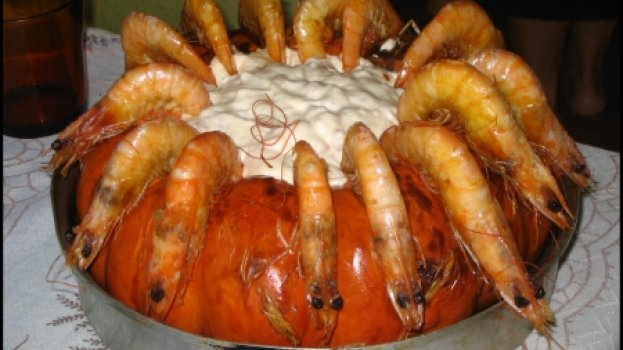 Camarão na Moranga com Catupiry e Creme de Leite