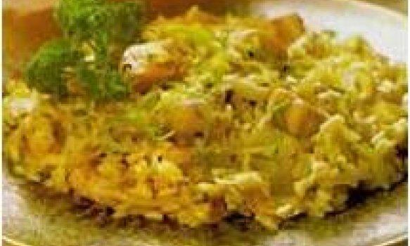 Risoto de laranja com peito de peru