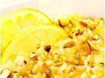 Risoto de laranja com limão siciliano e pistache
