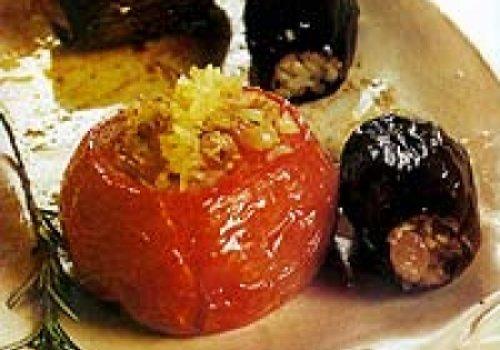 Tomate e beriingela recheados