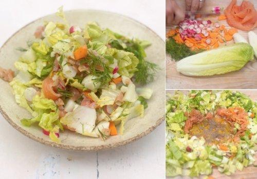 Salada com Salmão Defumado