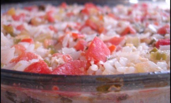 Arroz de Forno com Tomate e Pimentão