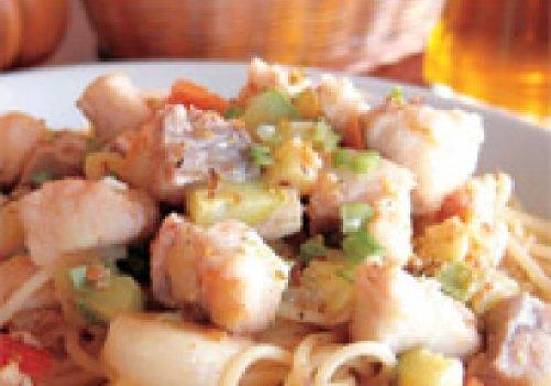 Spaghetti com Cernia e Pistacchi
