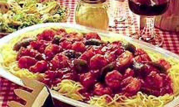 Espaguete com Molho de Camarões