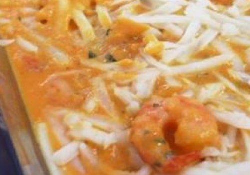 Gratinado de abóbora com camarão