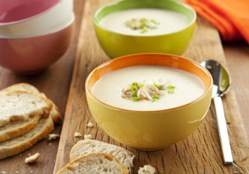 Sopa de Creme de Queijos com Cogumelos