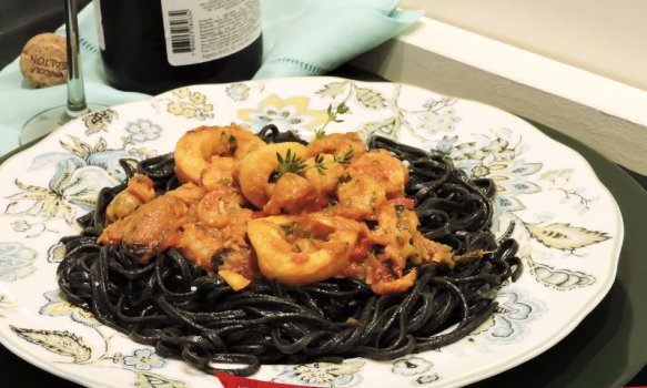 Linguini com frutos do mar