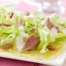 Carpaccio de Abacaxi, Alface e Atum ao Molho de Iogurte