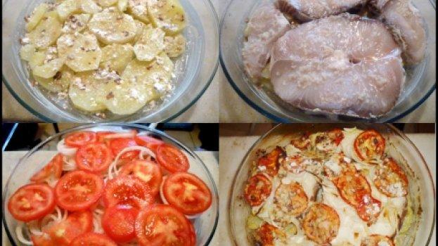 Cação ao forno com Batatas