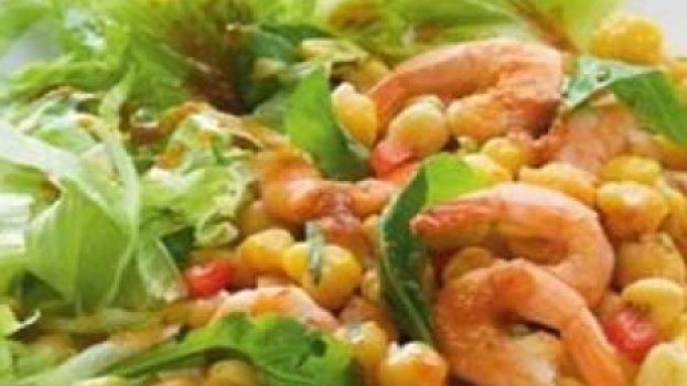 Salada de Grão de Bico e Camarão