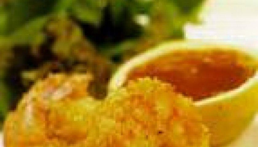 Camarão Empanado no Coco com Molho de Laranja