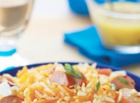 Salada de arroz com salsicha