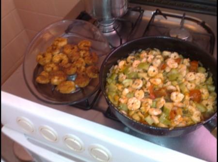 Camarão com verduras