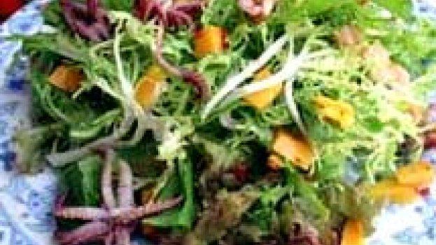 Salada de Folhas Verdes e Lula com Molho de Manga