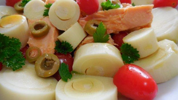 Salada de Palmito e Salmão
