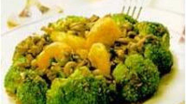 Camarão na manteiga com brócolis