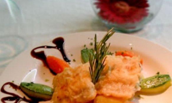 Filé de Abadejo grelhado com legumes na menteiga