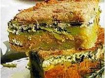 Torta de batata com creme de cenoura