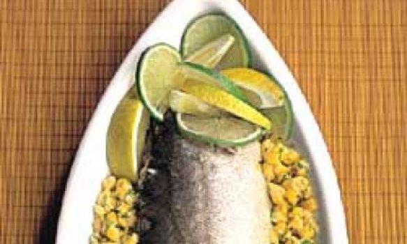 pescada recheada com milho