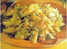 Garganelli com açafrão e legumes