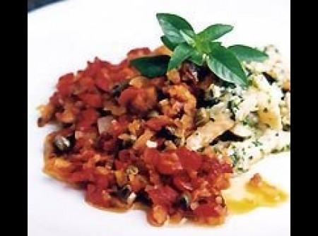 Bacalhau com salsa de alho e salsinha e peperonata