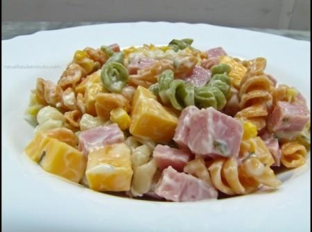 Salada de Macarrão com Presunto e Mussarela | vera lucia putti