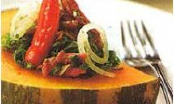 Abóbora com couve e carne-seca