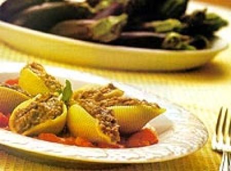 Conchiglioni recheado com pasta de berinjela