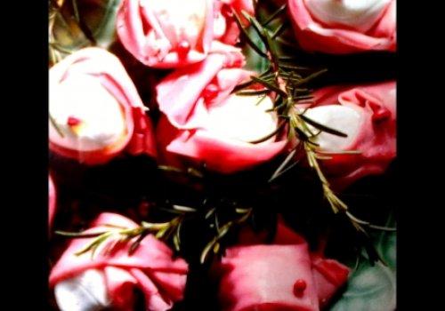 Flor de mortadela defumada e mussarela de búfala