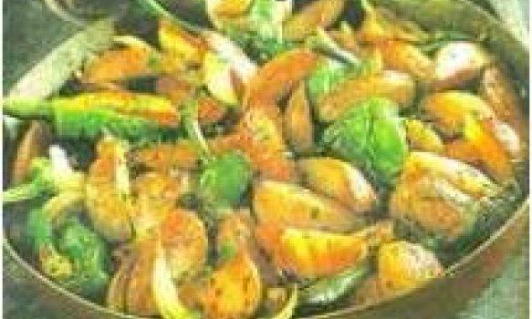 Frigideira de batta com pimenta doce