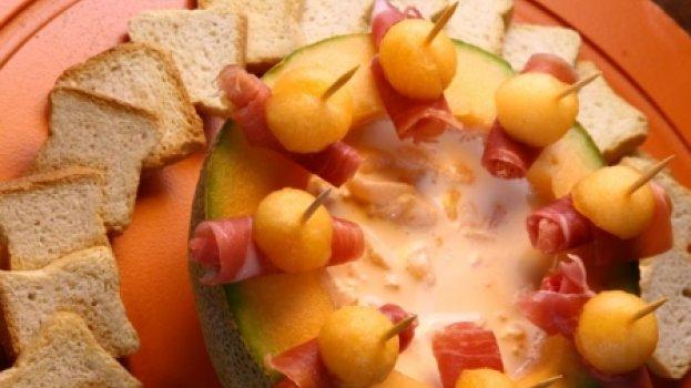 Presunto tipo Parma com dip de melão Cantaloupe