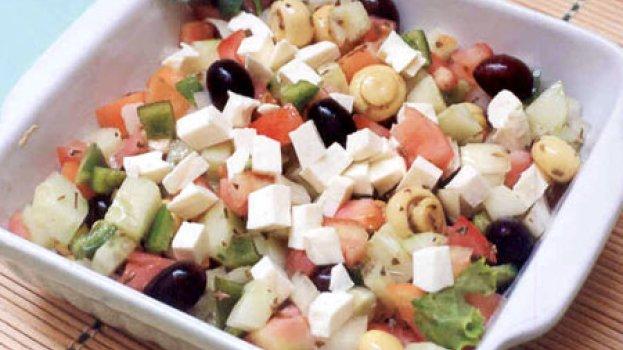 Salada Grega com Cogumelos