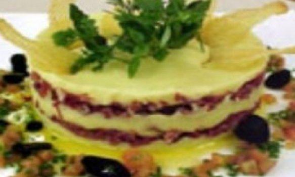 Torta de batata recheada com carne de sol