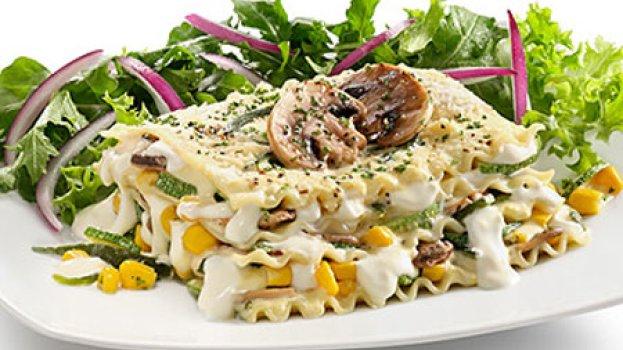 Lasanha de frango e champignon