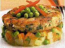 Hamburquer de peixe com legumes