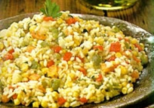 Risoto Primavera com Peru e Legumes