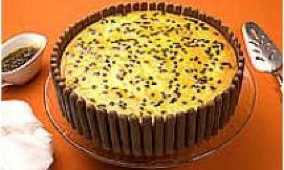 Torta de ricota e maracujá