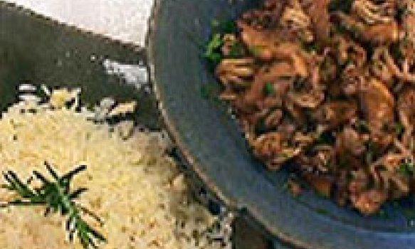 Frango com Cogumelos e Arroz com Palmito