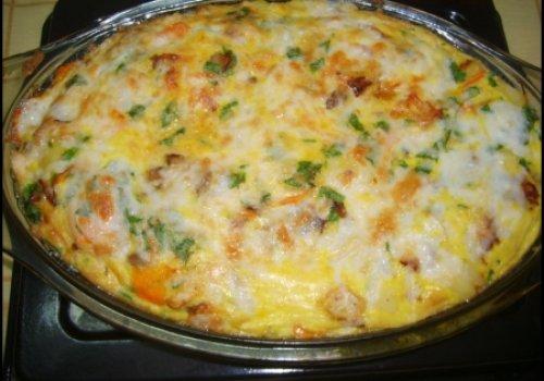 Tortilha de forno com frango e legumes