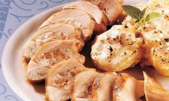 Peito de frango recheado com camarão seco e ricota