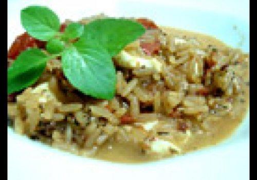 Risoto de tomate seco, mussarela e manjericão