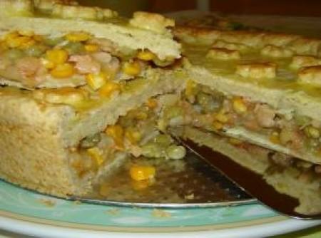 Torta de Camarão com Ervilha e Milho