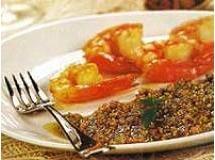 camarão grelhado ao pesto com casatanha de cajú