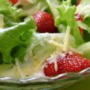 Salada com Morangos ao Molho de Cream Cheese