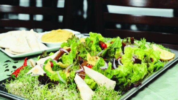 Salada de pernil com molho de abacate